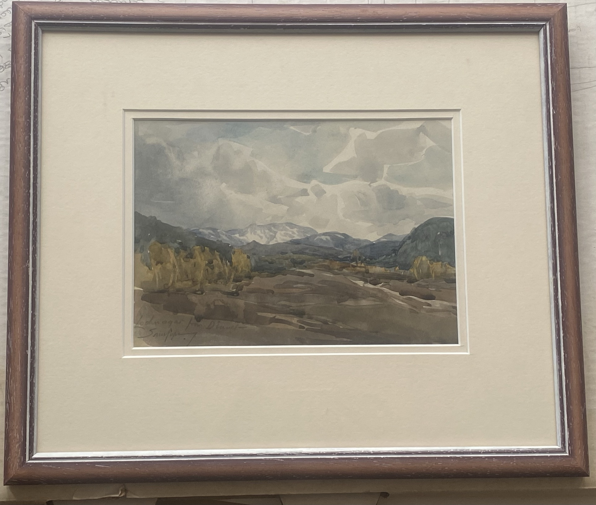 """Samuel Pope (British, active 1896-1940) signed watercolour """"Loch Na'Gar"""" - Image 2 of 3"""