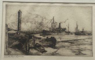 "Robert William Arthur Rouse RBA fl. 1882-1929 Signed Etching ""Steamer"""