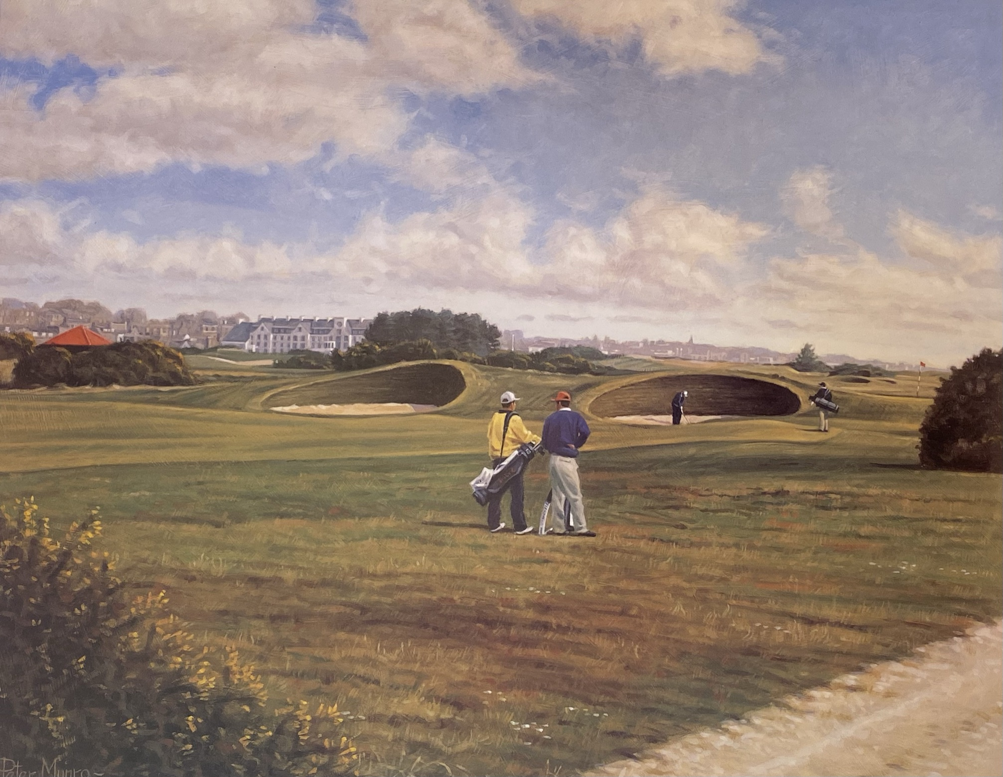 Carnoustie 14th golfing print signed A/P by Scottish artist Peter Munro