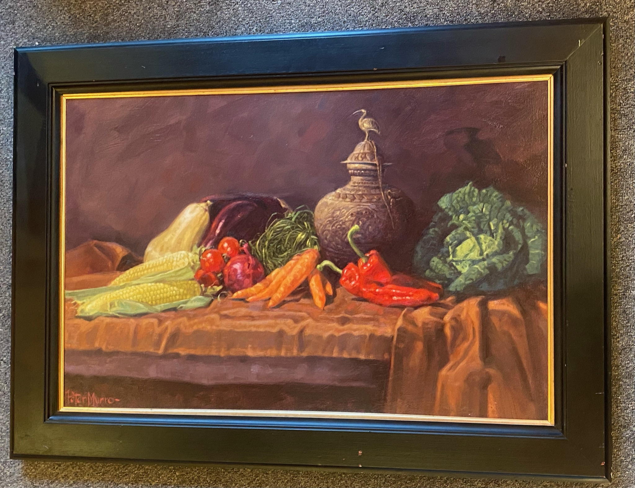 Superb large oil painting depicting a still life of winter vegetables by Peter Munro - Image 2 of 3