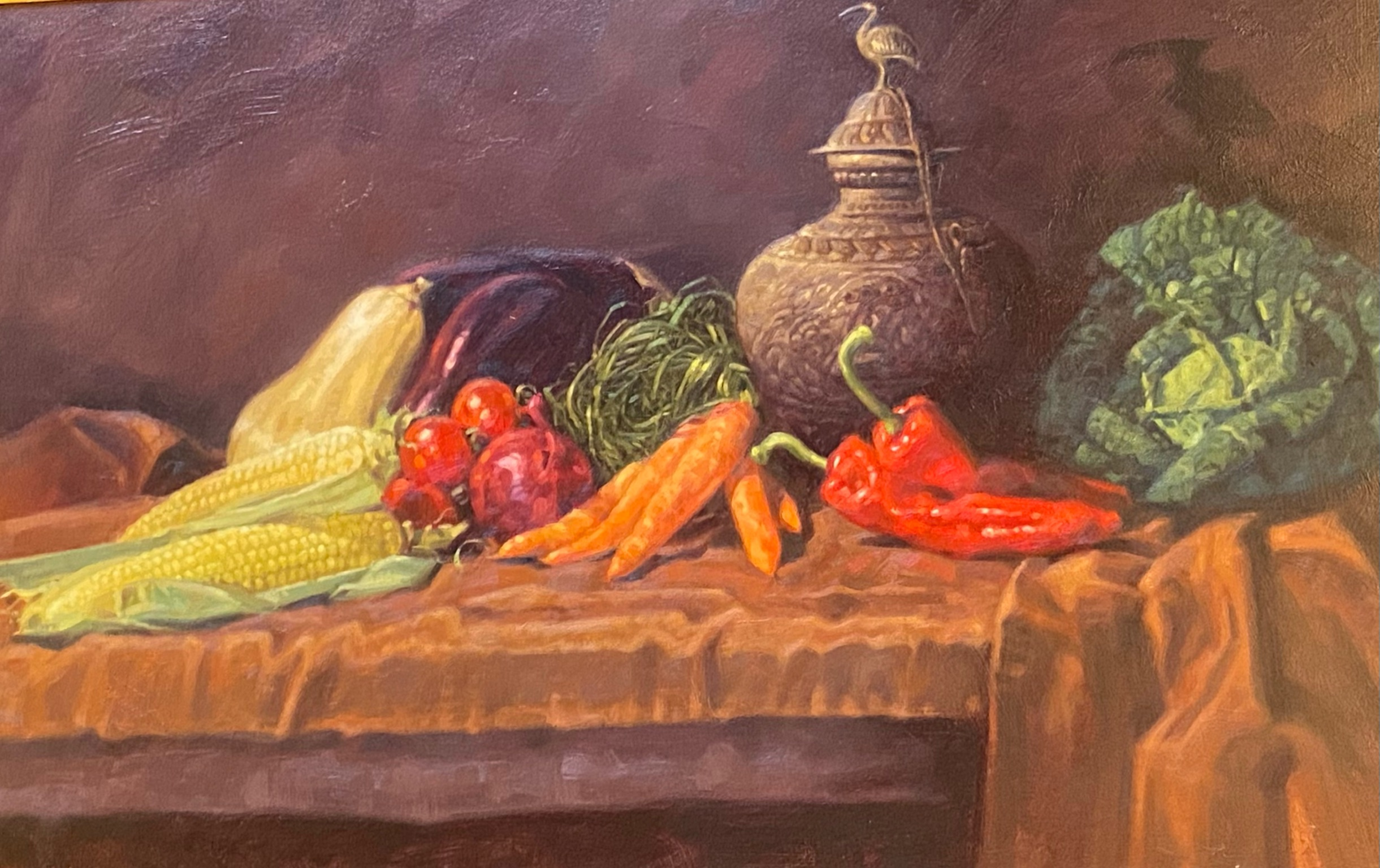 Superb large oil painting depicting a still life of winter vegetables by Peter Munro