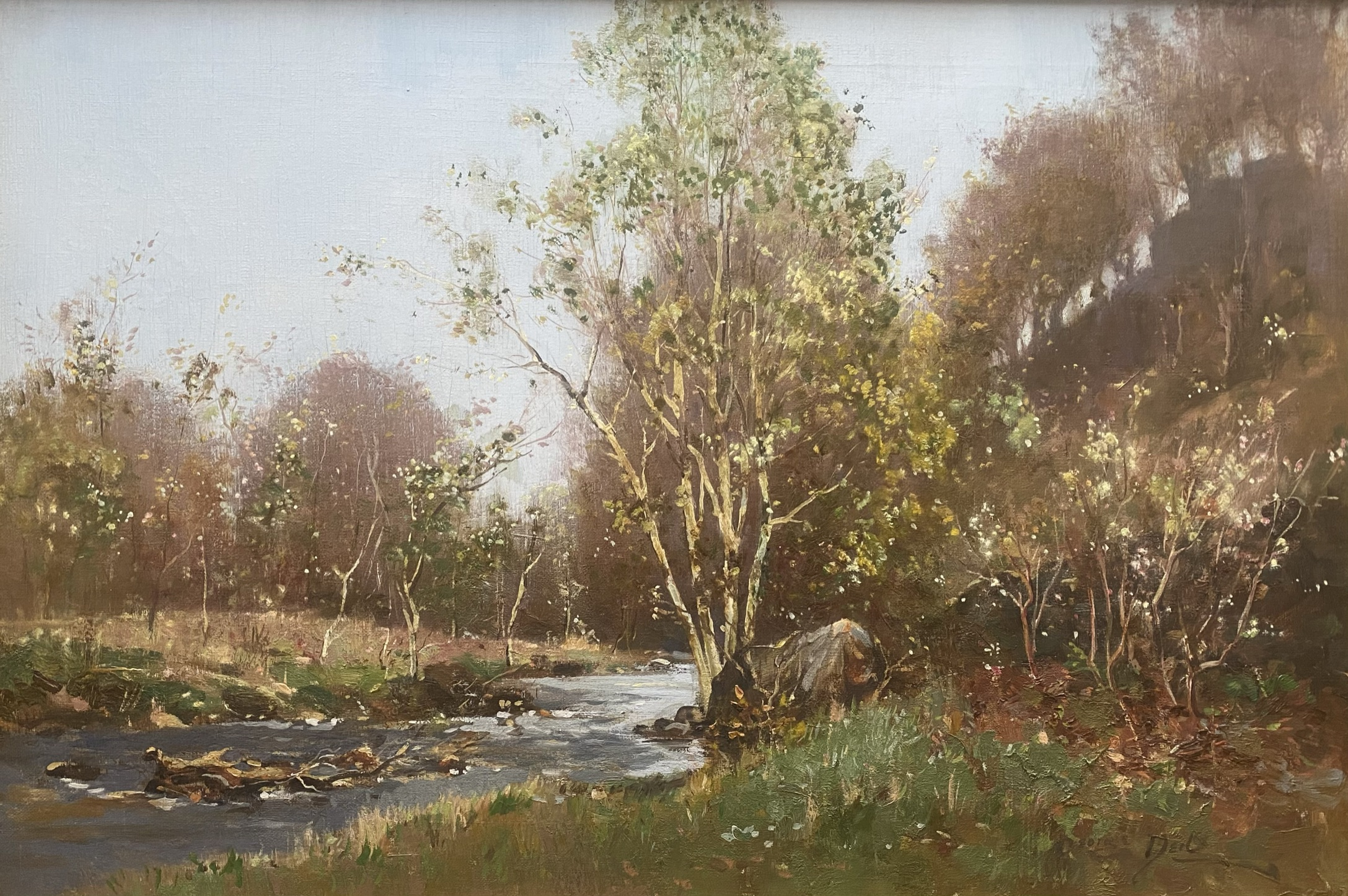 """George Neil Scottish signed oil painting """"country stream"""""""