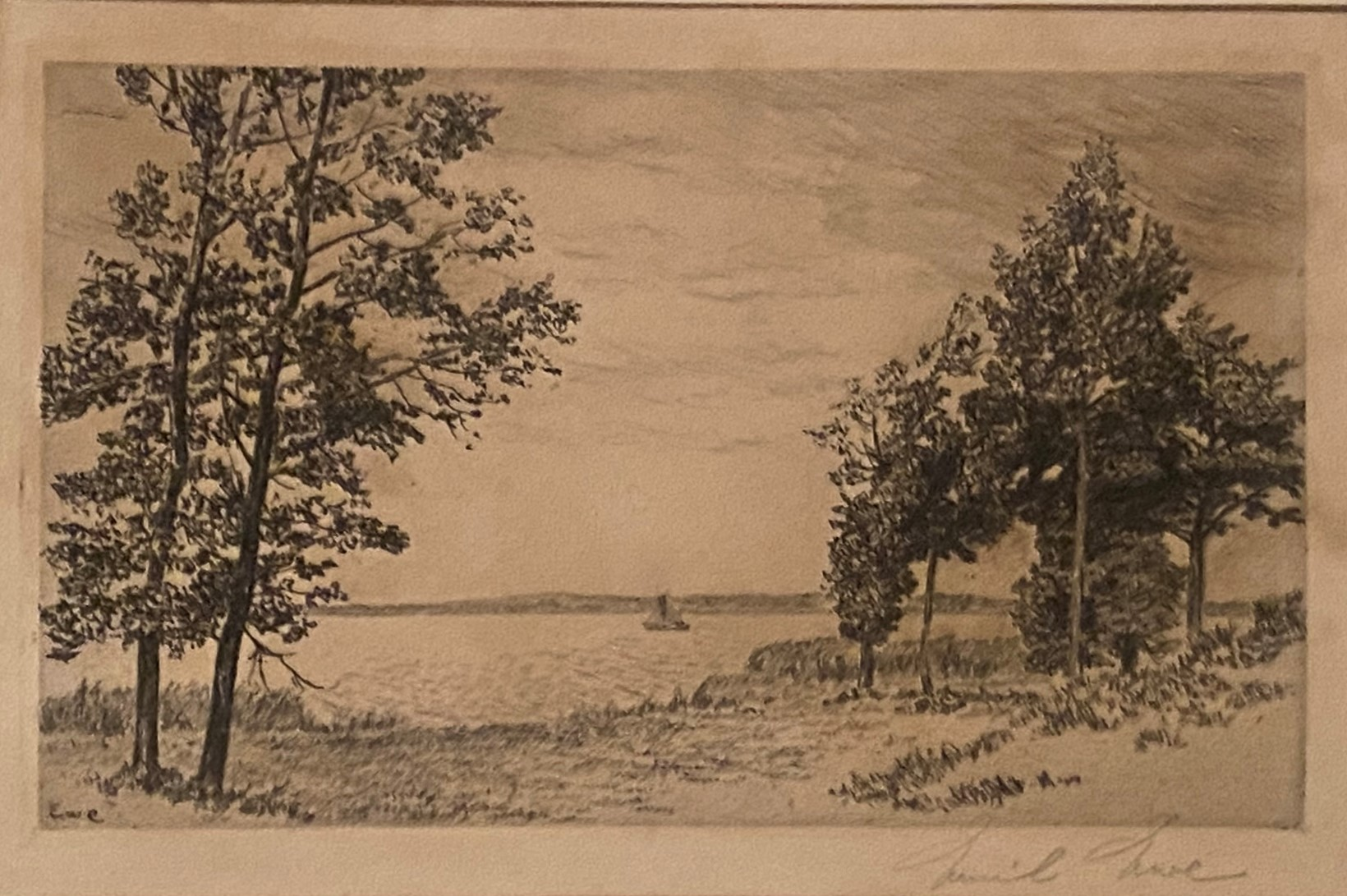 Etching Scottish Highland loch scene indistinctly signed in pencil