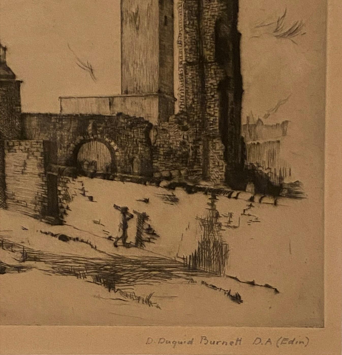 Pencil signed etching by D Dugaird Burnett D.A Edinburgh – Edinburgh View - Image 2 of 3