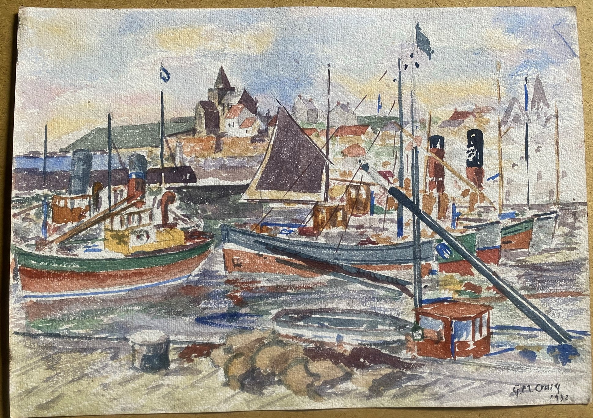 Watercolour signed G. M. Craig, (Gertrude Mary) St Monance - Image 2 of 4