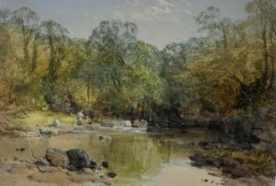 Charles Branwhite signed watercolour children playing by a stream