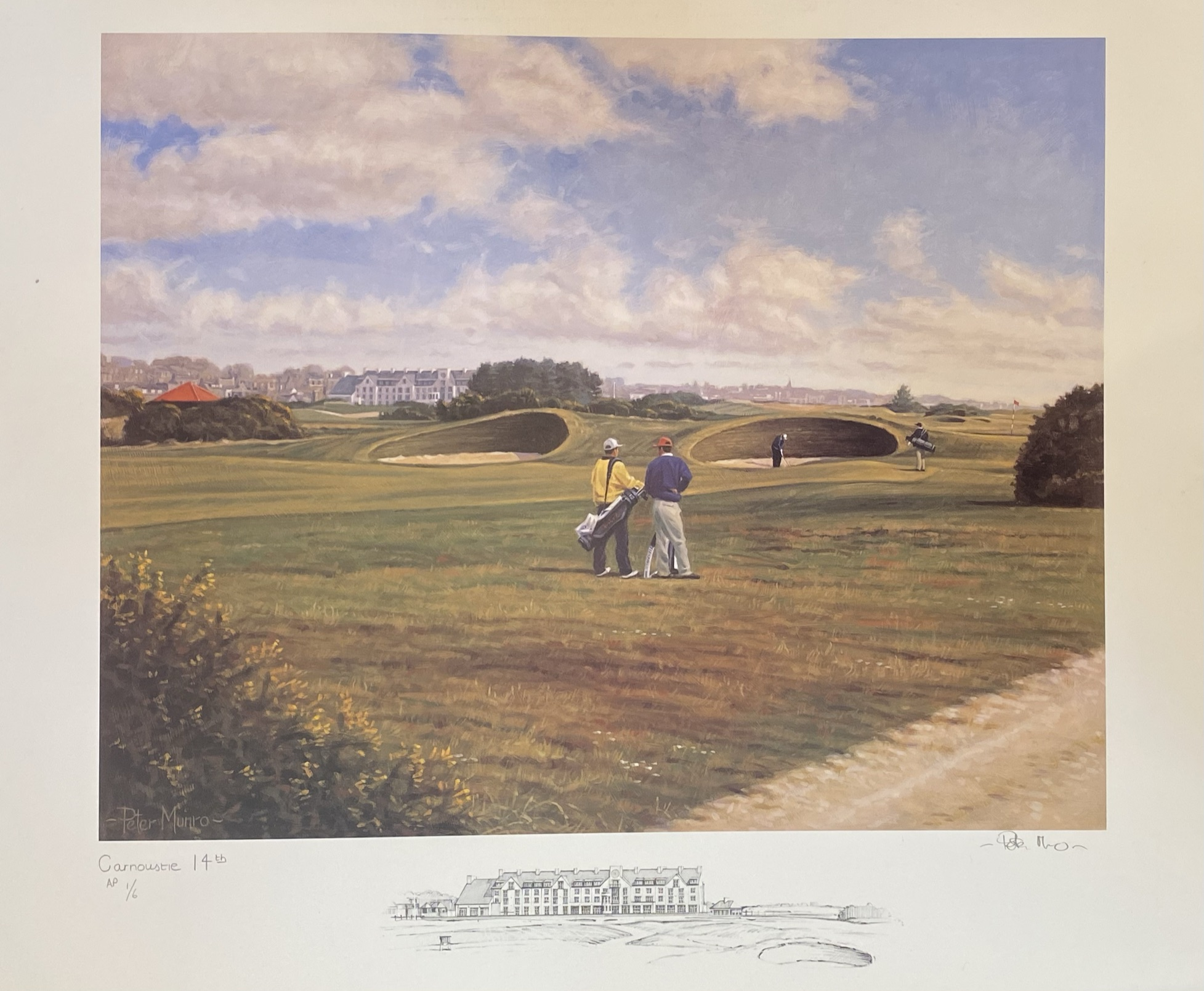 Carnoustie 14th golfing print signed A/P by Scottish artist Peter Munro - Image 2 of 4
