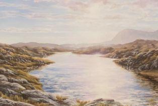 J Howard signed oil on acrylic Scottish view Qunaig at Dawn