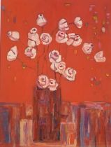 """Stefka O'Doherty """"Flowers in red"""" Signed oil on board"""