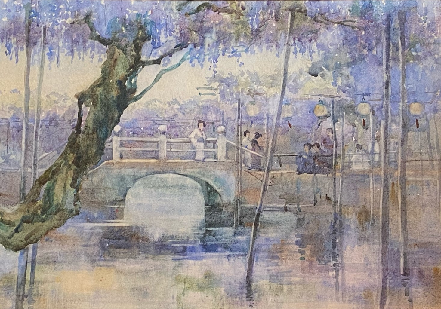 "Mary Rose Hill Burton, Scottish (1857-1900)""Japanese Ladies standing by a Bridge,"""