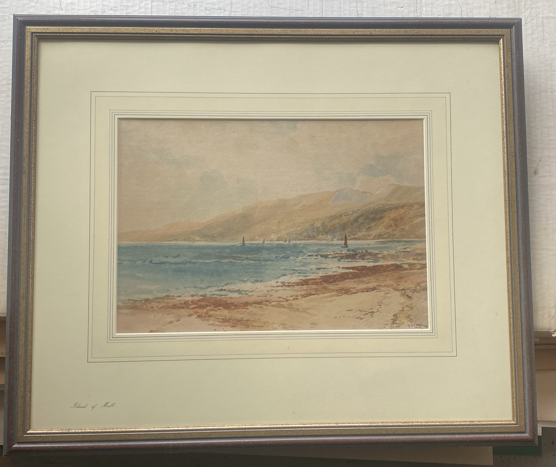 """James Morris (Scottish 1857-1942) signed watercolour """"Sound of Mull """" - Image 2 of 3"""