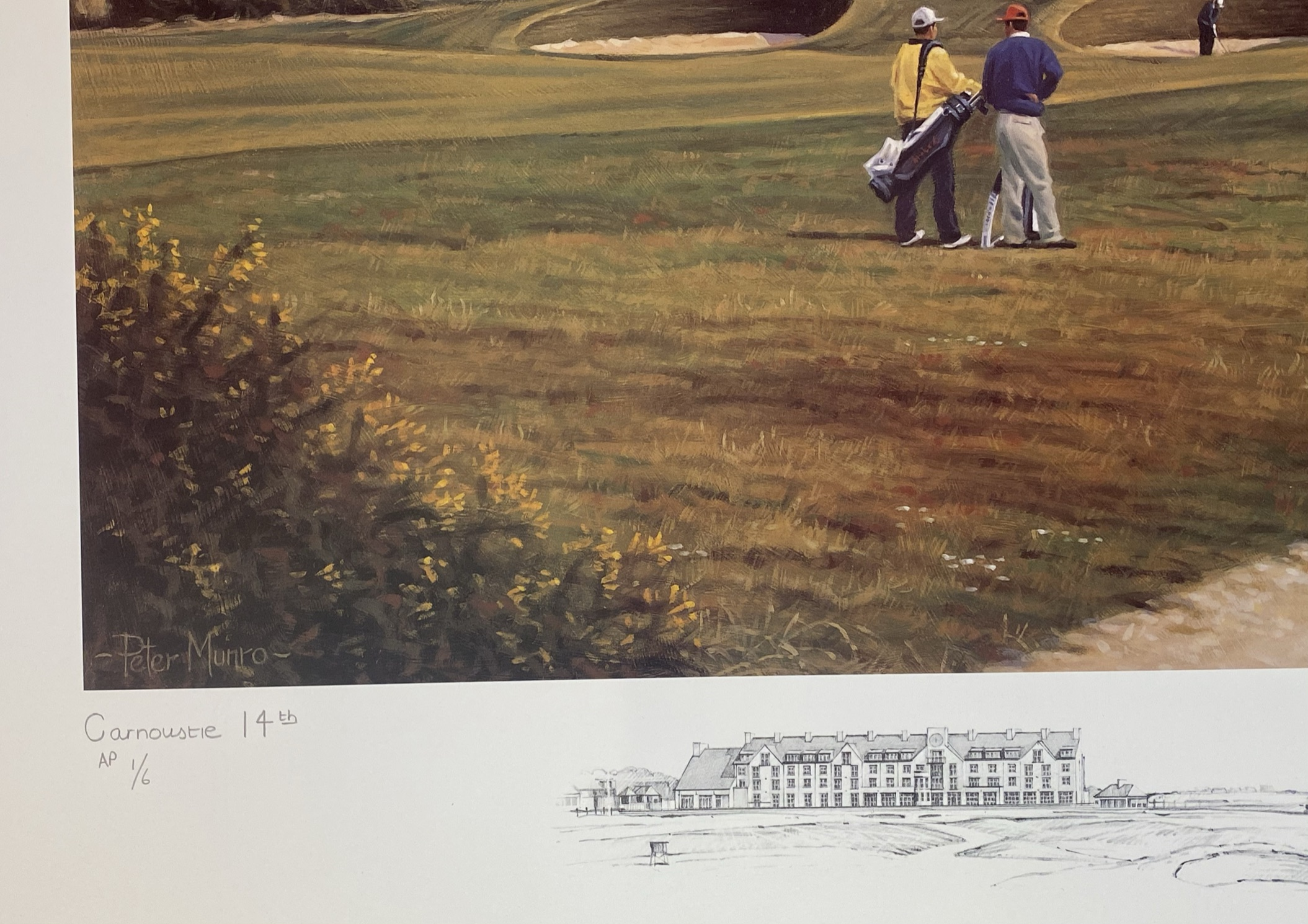 Carnoustie 14th golfing print signed A/P by Scottish artist Peter Munro - Image 4 of 4