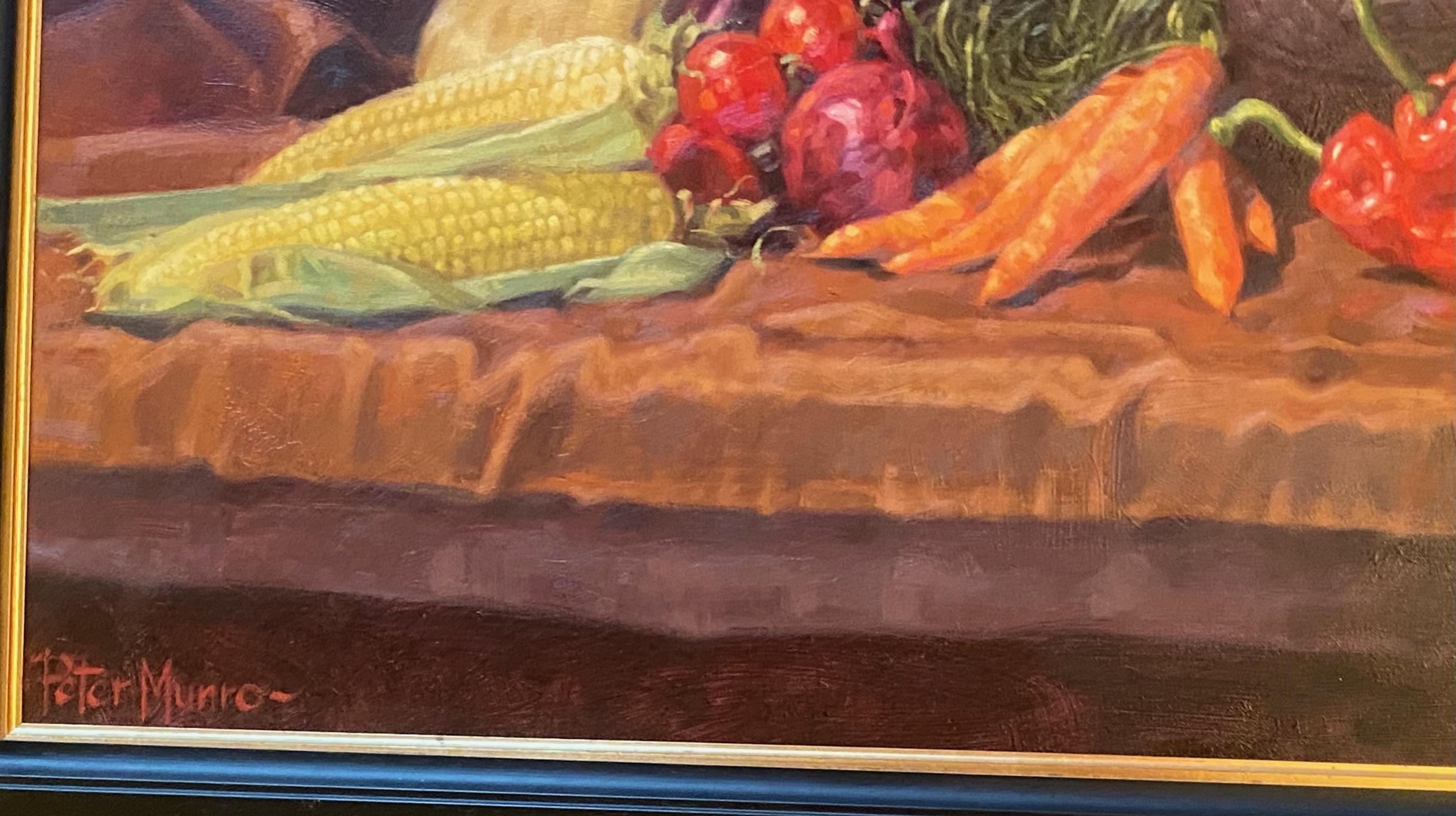 Superb large oil painting depicting a still life of winter vegetables by Peter Munro - Image 3 of 3
