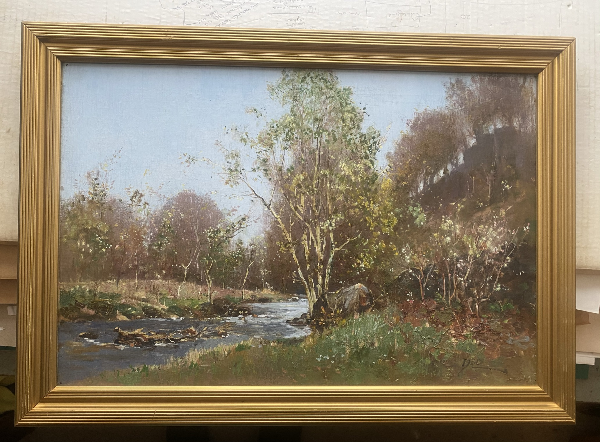 """George Neil Scottish signed oil painting """"country stream"""" - Image 2 of 4"""