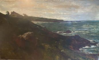 Edwin Ellis (1842–1895) Coastal scene large unframed Signed oil painting