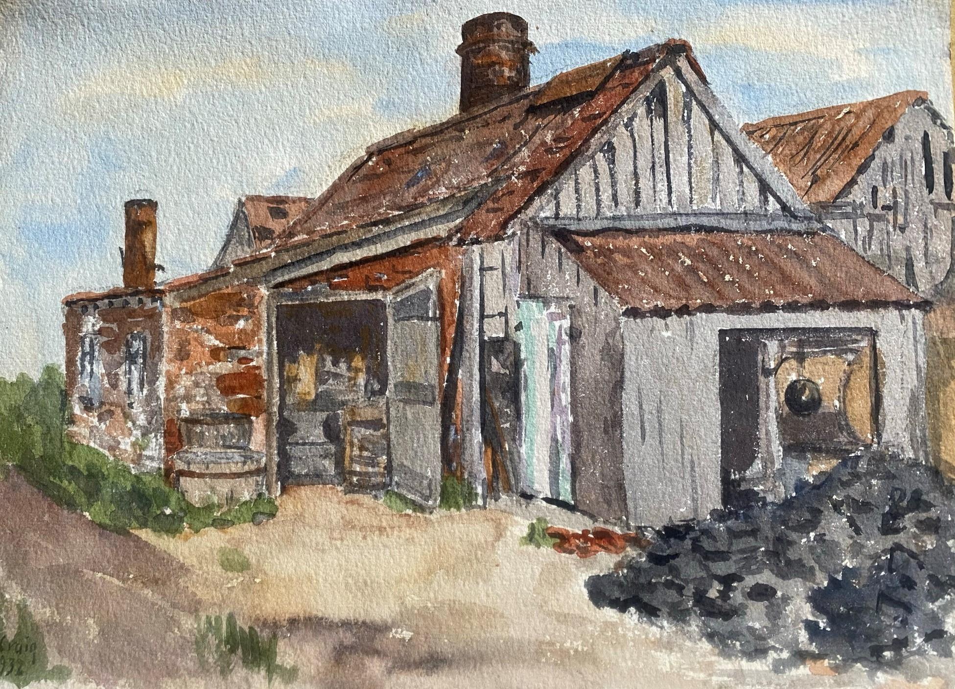 Watercolour signed G. M. Craig, (Gertrude Mary) Tile Works Dunshalt