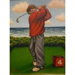 """Graham McKean signed oil painting Golf subject """"Fore"""""""