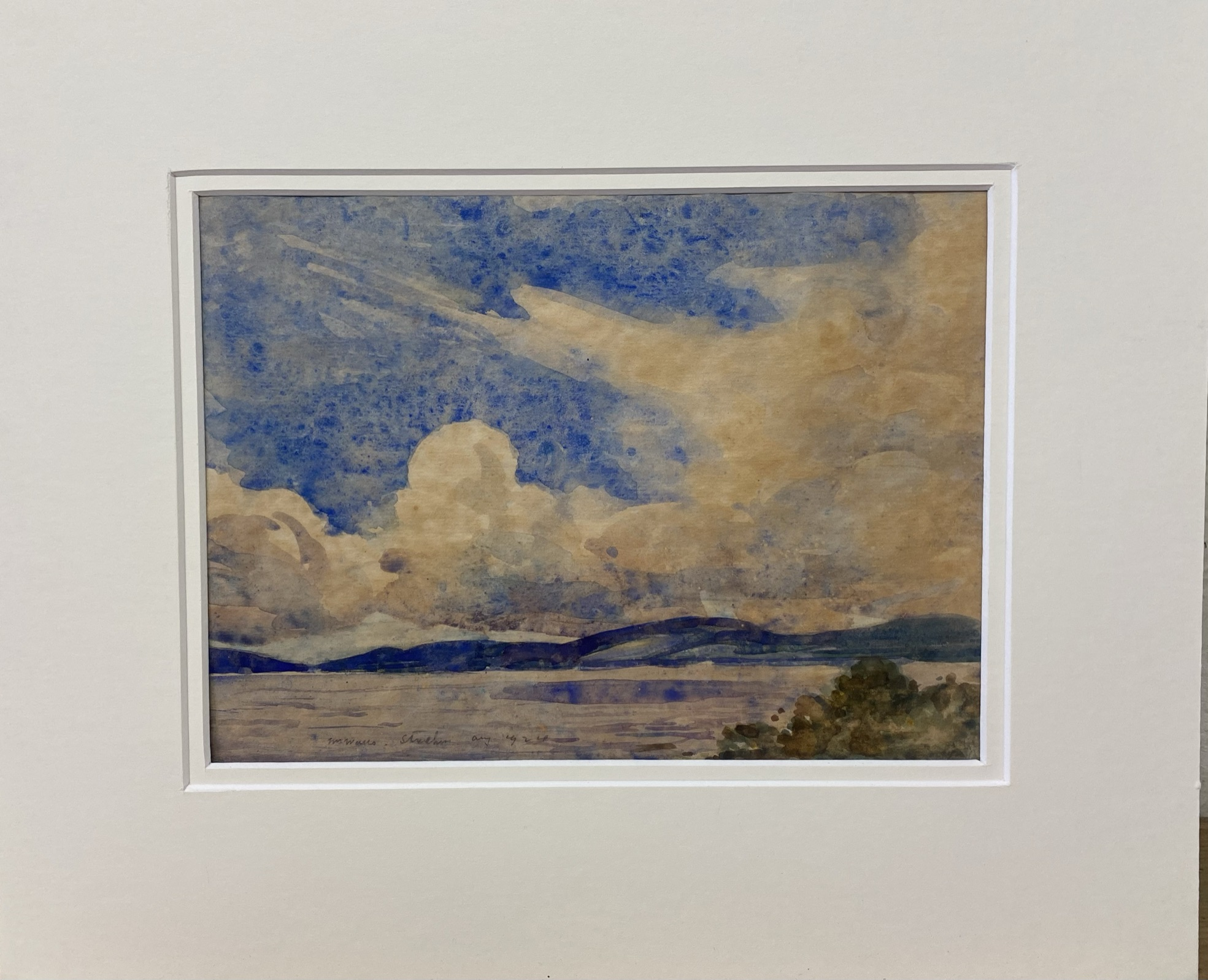"""William Walls 1860-1942 ARSA, RSW, RSA signed watercolour """"Cloudy day Strathcurr"""" - Image 2 of 4"""