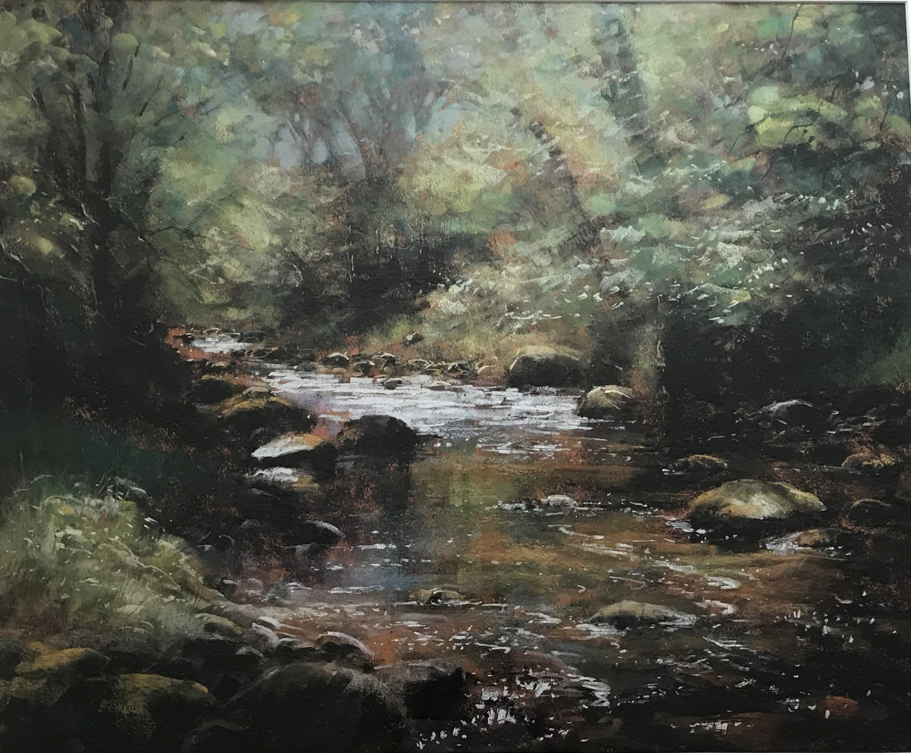 Forrest Stream in Dappled Sun pastel by Scottish artist Robert Turnbull 20th C
