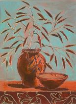 """Stefka O'Doherty """"Flowers and dishes"""" Signed oil on board"""