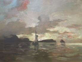 """Alexander Frew (Scottish 1863-1908) signed oil painting """"sunset over the shore"""""""