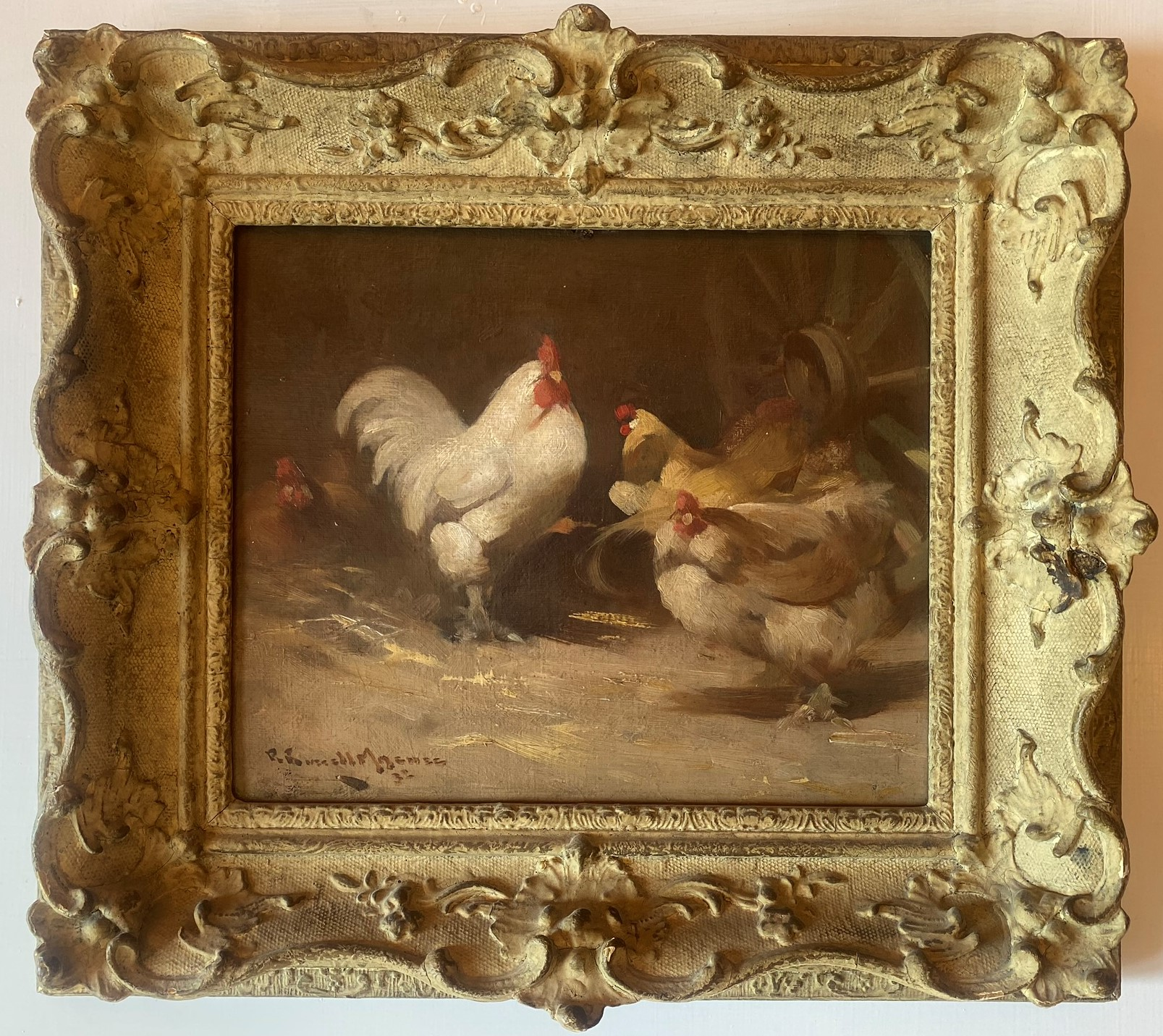 Original Signed Oil Painting. Robert Russel MacNee, 1880-1952 - On The Farm - Image 2 of 4
