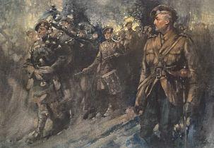 """Thomas Hutchinson Peddie 1871-1954 print """"Highland regiment"""""""