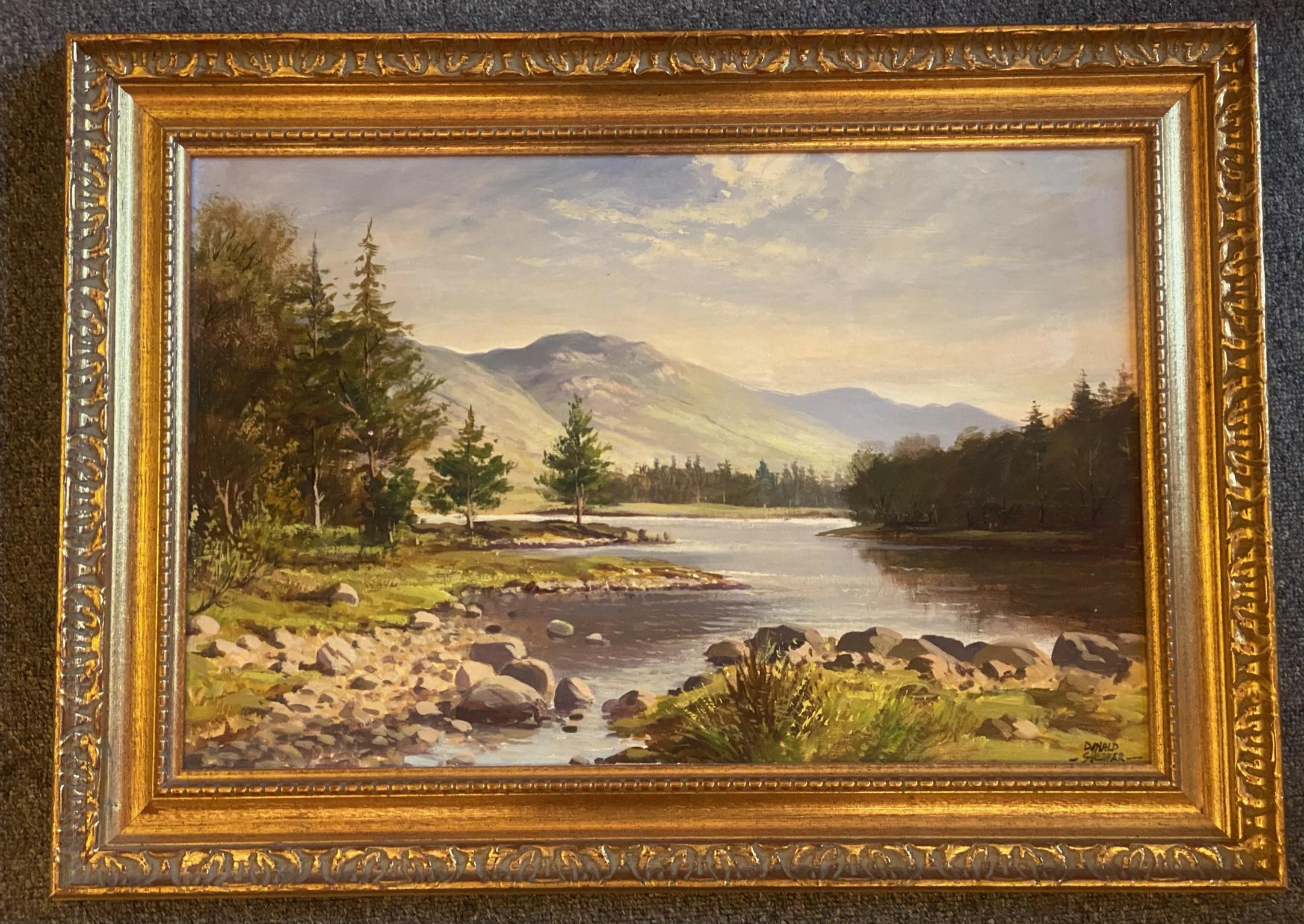 "Donald M Shearer (Scottish) Original signed oil Scottish View ""Loch Morlich"" Donald - Image 2 of 5"