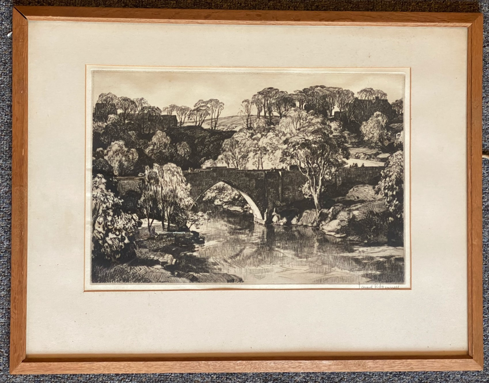 Leonard Russell Squirrel (RWS, RE, RI, PS, SGA 1893-1979) signed etching Brig O'Gowrie Deeside - Image 2 of 3
