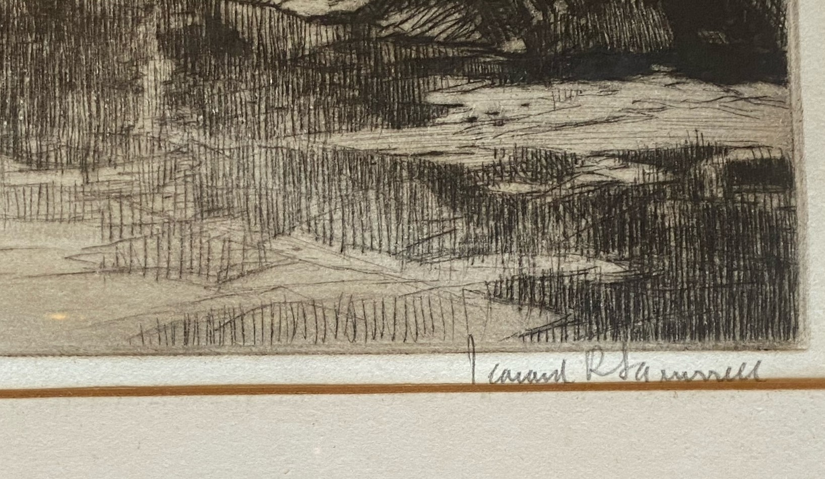 Leonard Russell Squirrel (RWS, RE, RI, PS, SGA 1893-1979) signed etching Brig O'Gowrie Deeside - Image 3 of 3