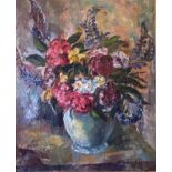 Large oil painting Lupins and Dahlias by Scottish artist Sir William MacTaggart FRSE RA RSA