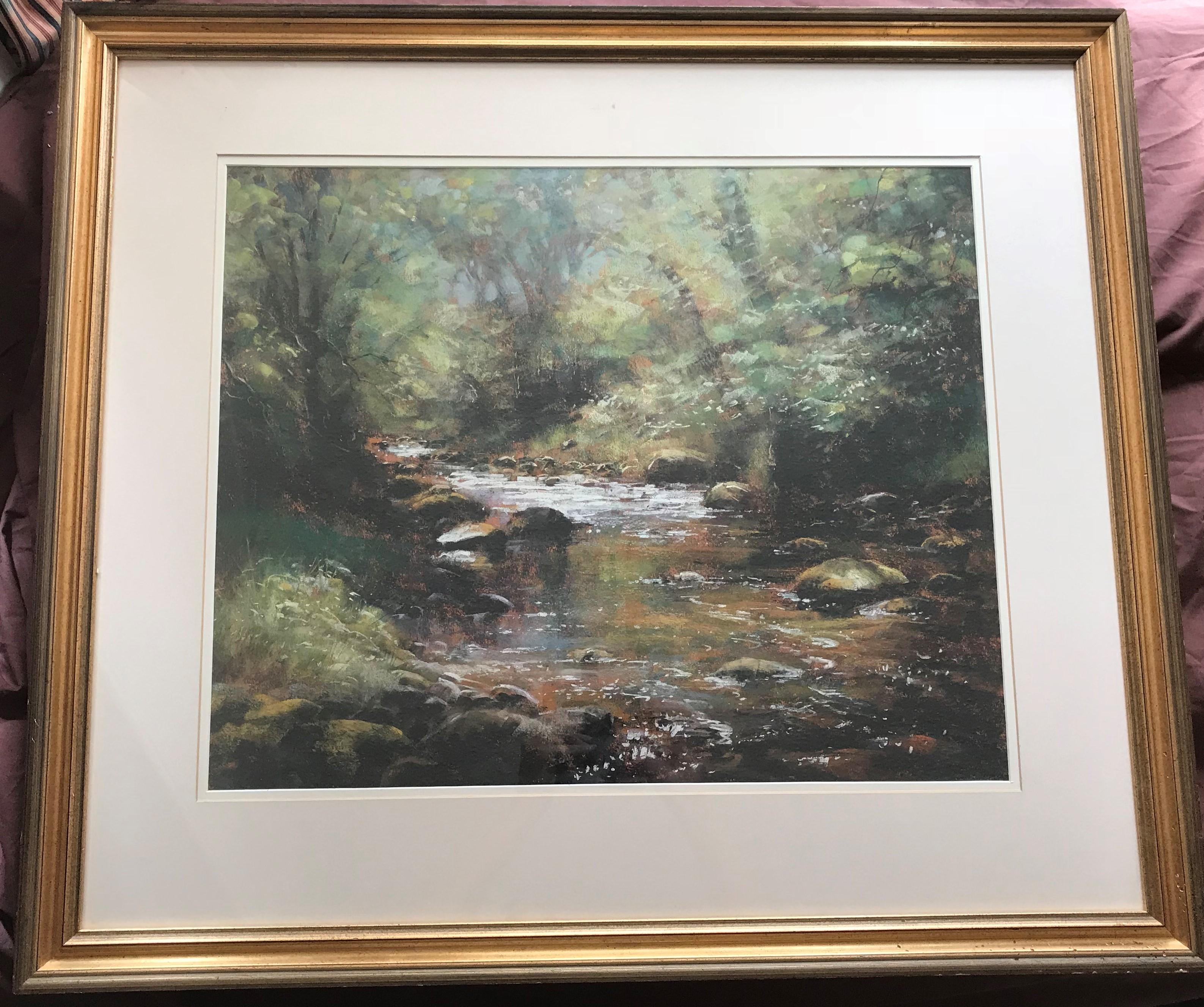 Forrest Stream in Dappled Sun pastel by Scottish artist Robert Turnbull 20th C - Image 2 of 4