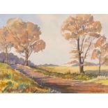 """Martin W Prentice watercolour on paper """"Lanarkshire farm track"""""""