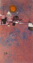 Paul Klee vintage silk screen print Orange moon
