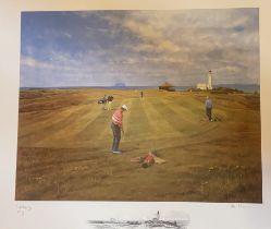 Turnbury golfing print signed A/P by Scottish artist Peter Munro