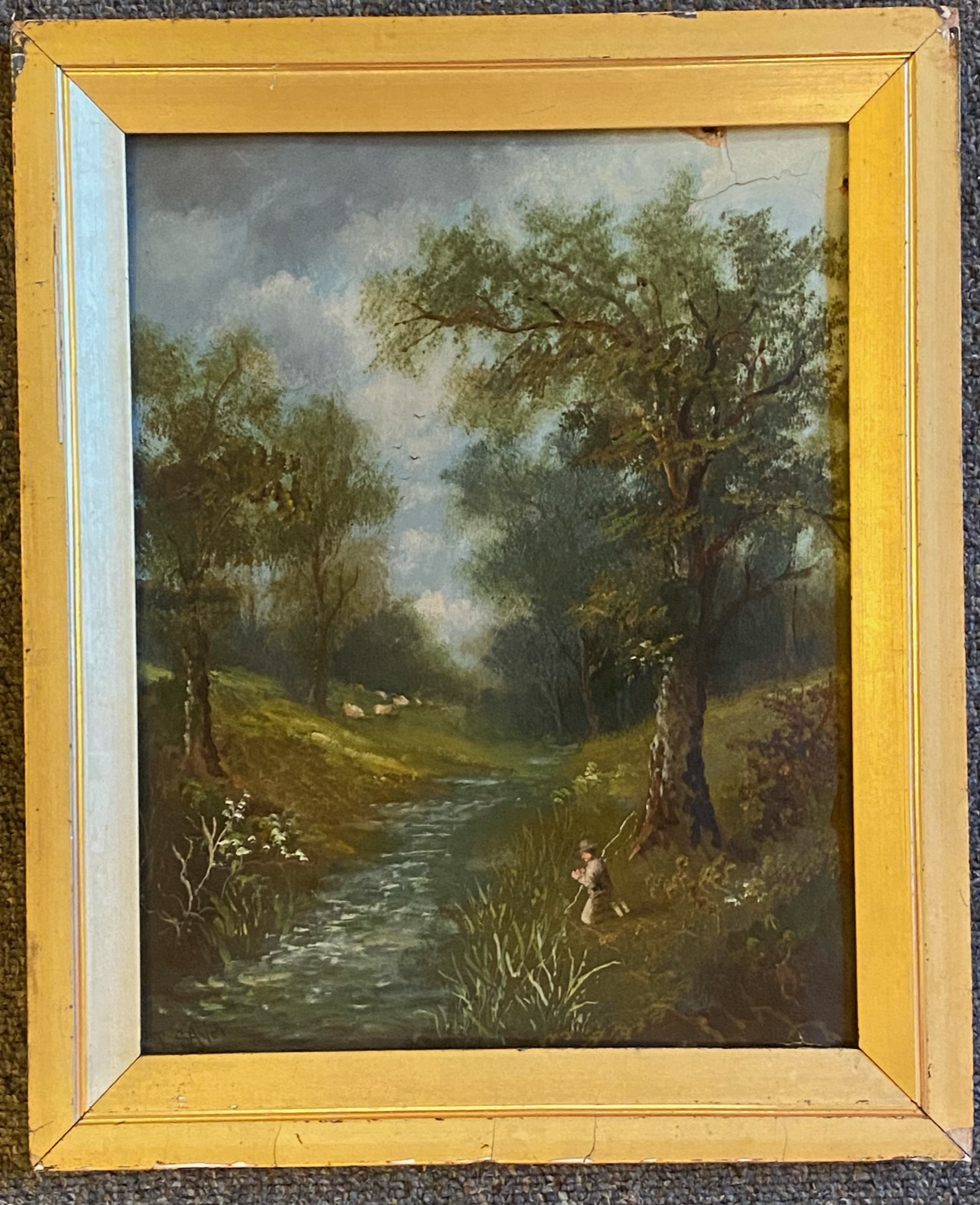 T Sayer signed oil painting For restoration - Image 2 of 4