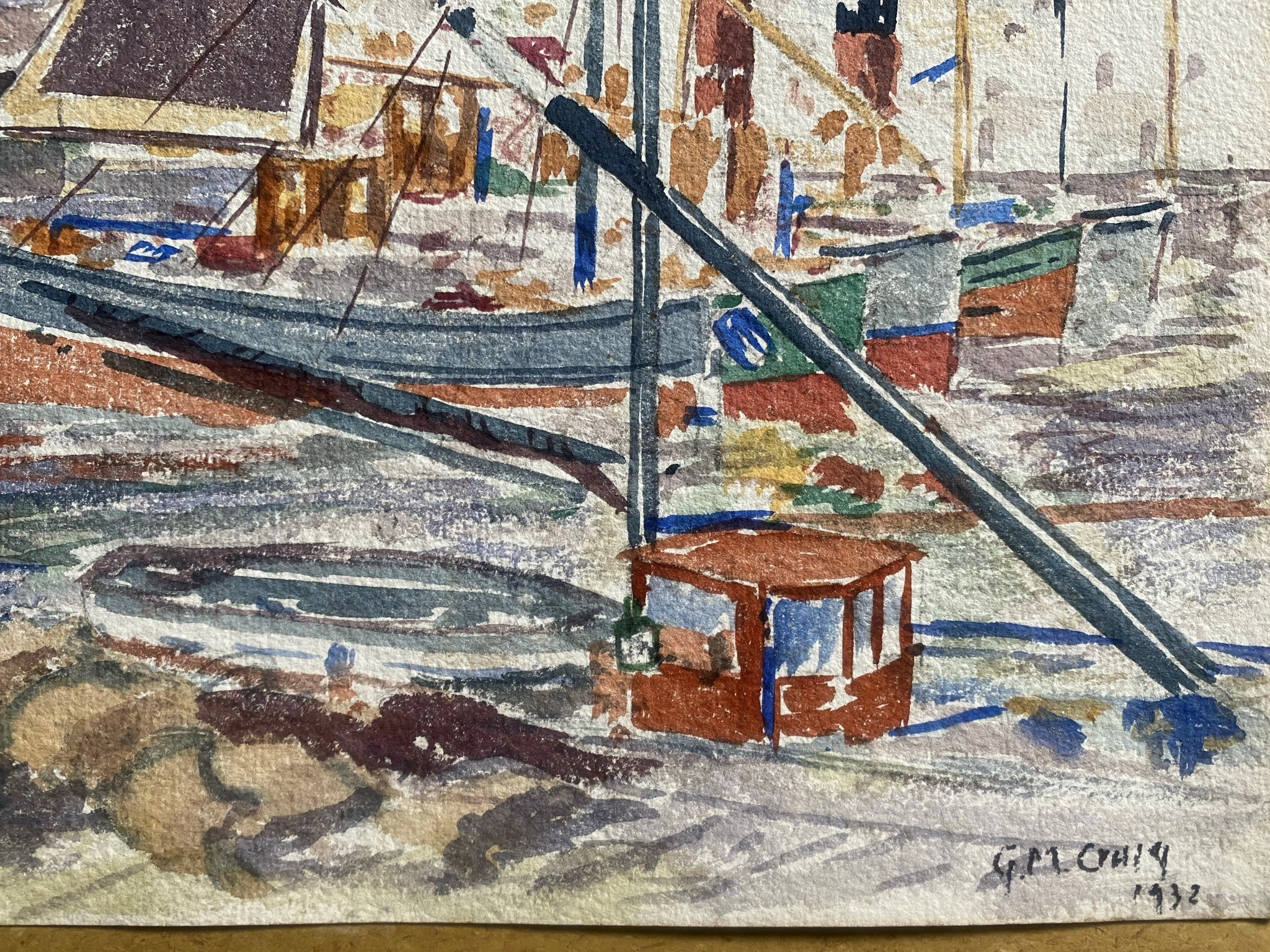 Watercolour signed G. M. Craig, (Gertrude Mary) St Monance - Image 3 of 4