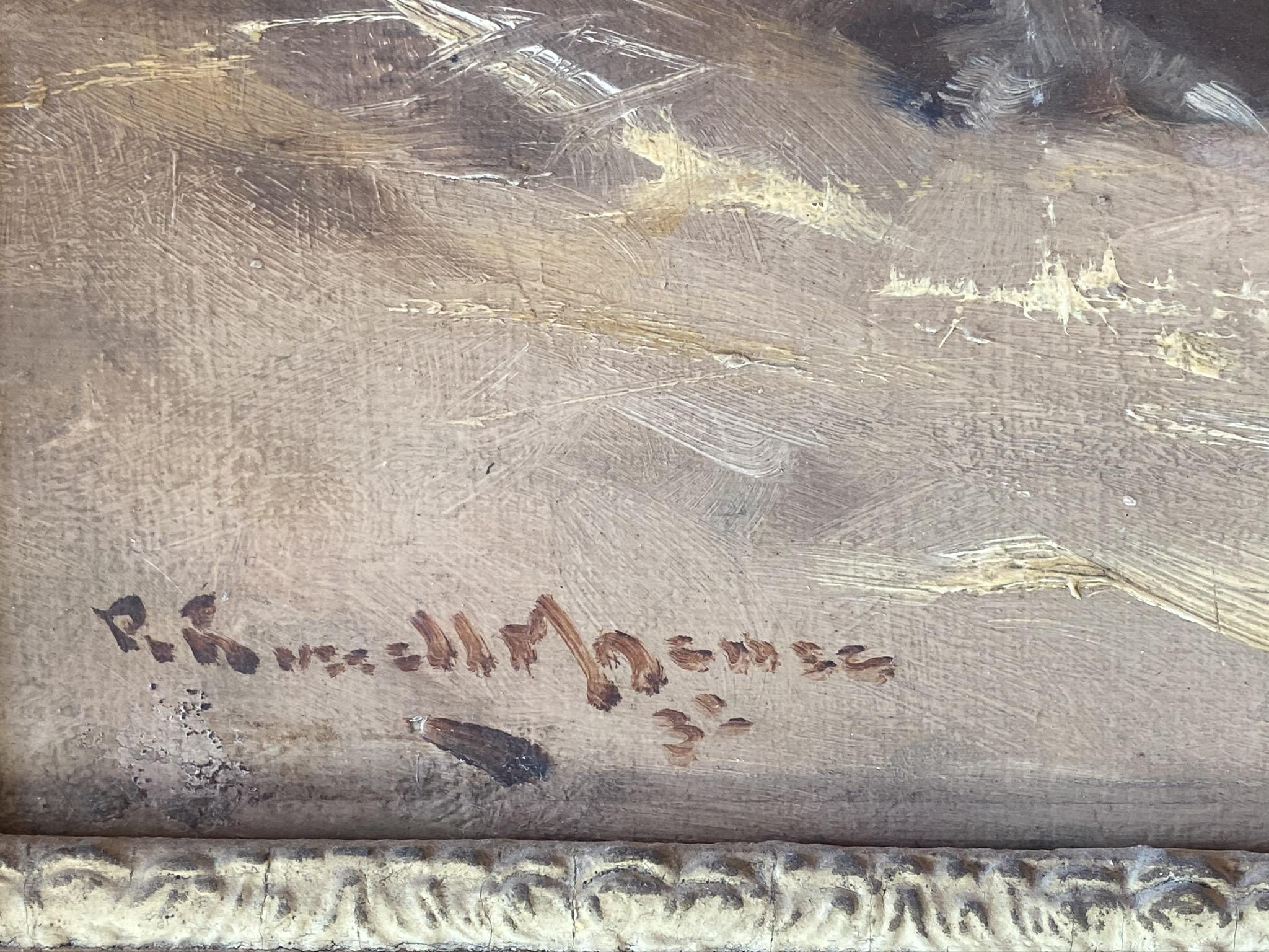 Original Signed Oil Painting. Robert Russel MacNee, 1880-1952 - On The Farm - Image 3 of 4