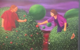 """Large Michael Forbes Scottish Contemporary artist signed oil """"Hands off my juicy fruits"""""""