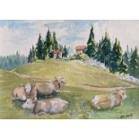 Watercolour signed G. M. Craig, (Gertrude Mary) St Cergue, Switzerland