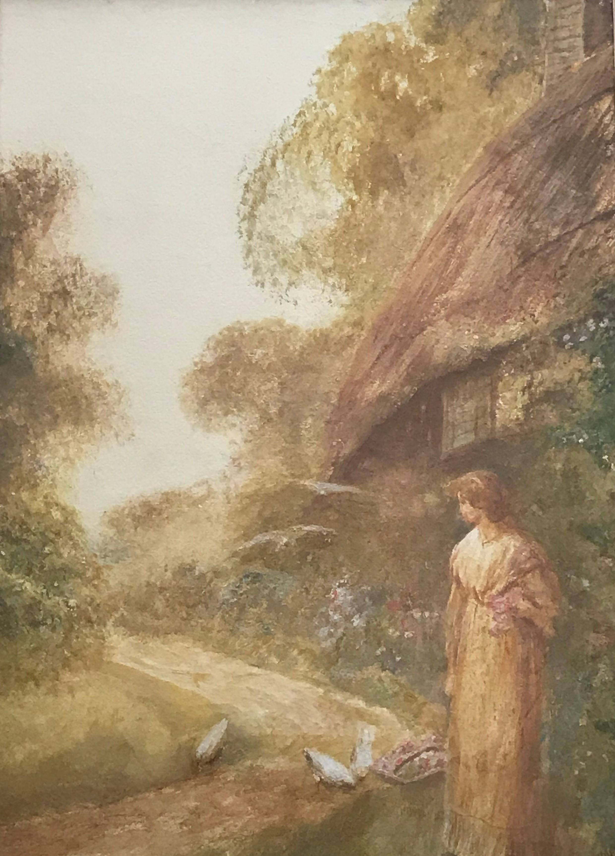 """Frederick Hines ERA (1860-1930) Watercolour """"Feeding doves"""""""