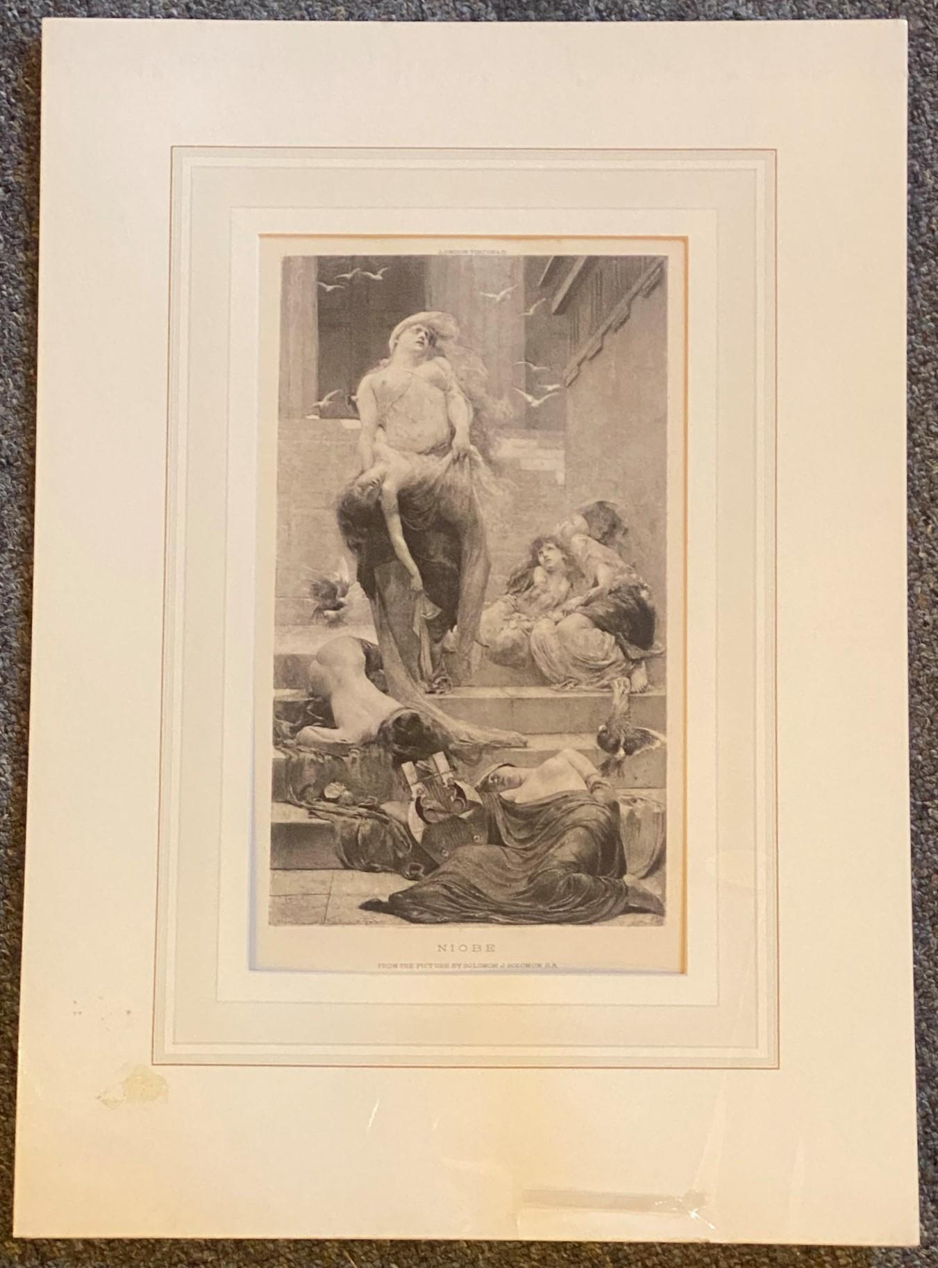 """Solomon Joseph Solomon RA RBA 1860-1927 """"Niobe"""" engraving - Image 2 of 4"""