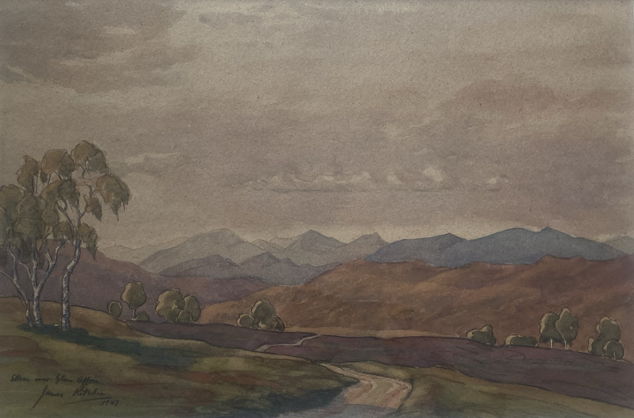 """John Ritchie (Scottish) signed watercolour """"Storm over the Glen"""""""