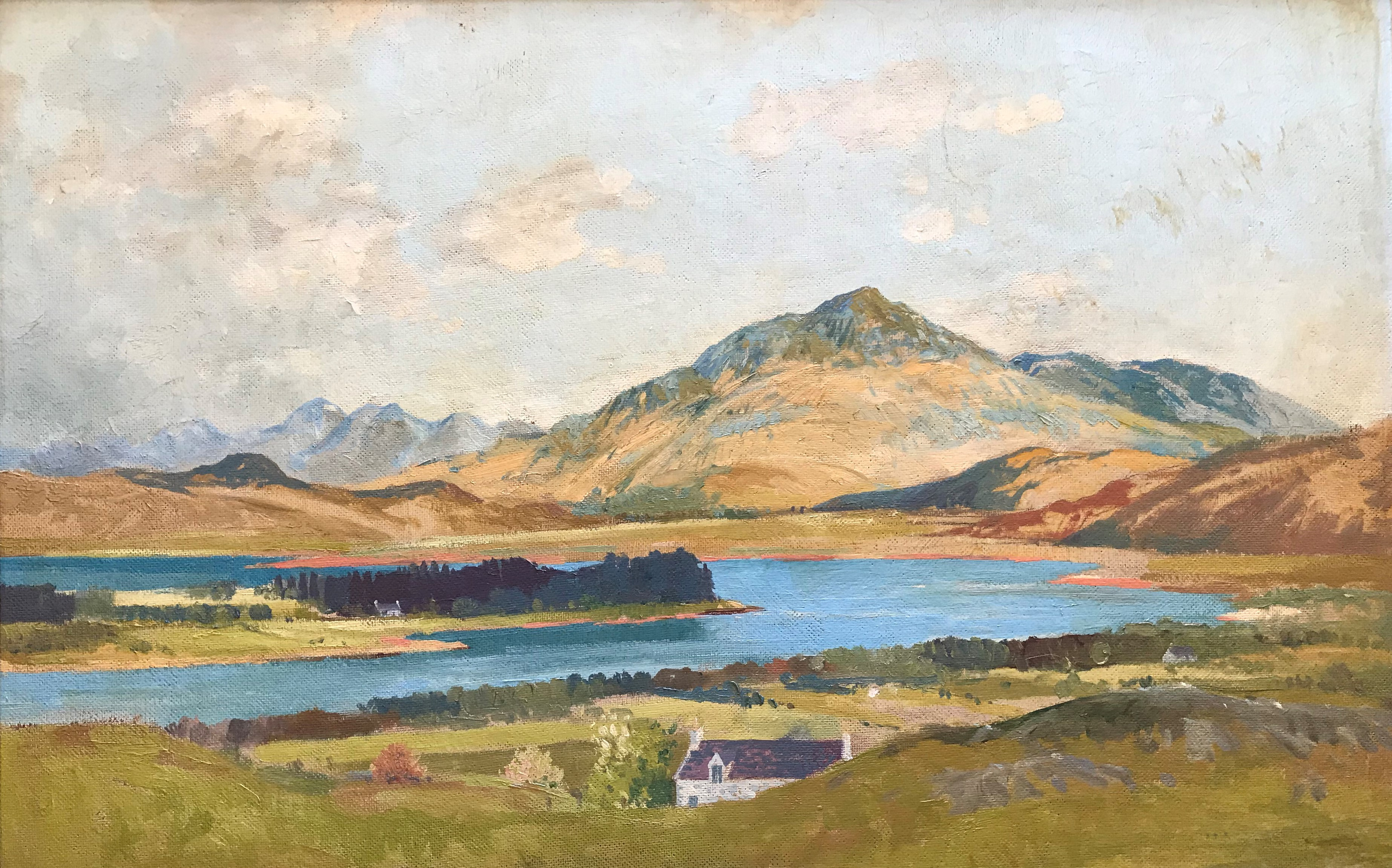Scottish oil painting Beinn Respoil and Loch Shiel by Tom Hovell Shanks RSW, RGI, PIA