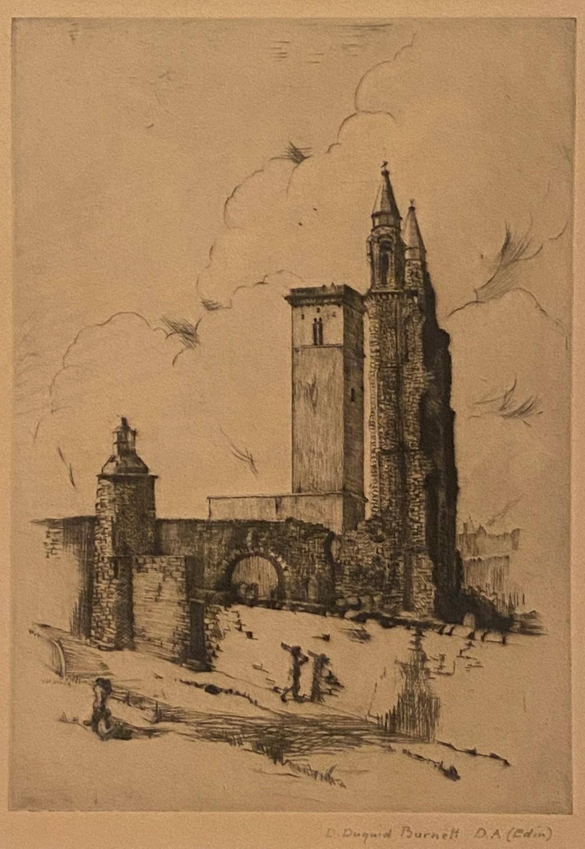 Pencil signed etching by D Dugaird Burnett D.A Edinburgh – Edinburgh View