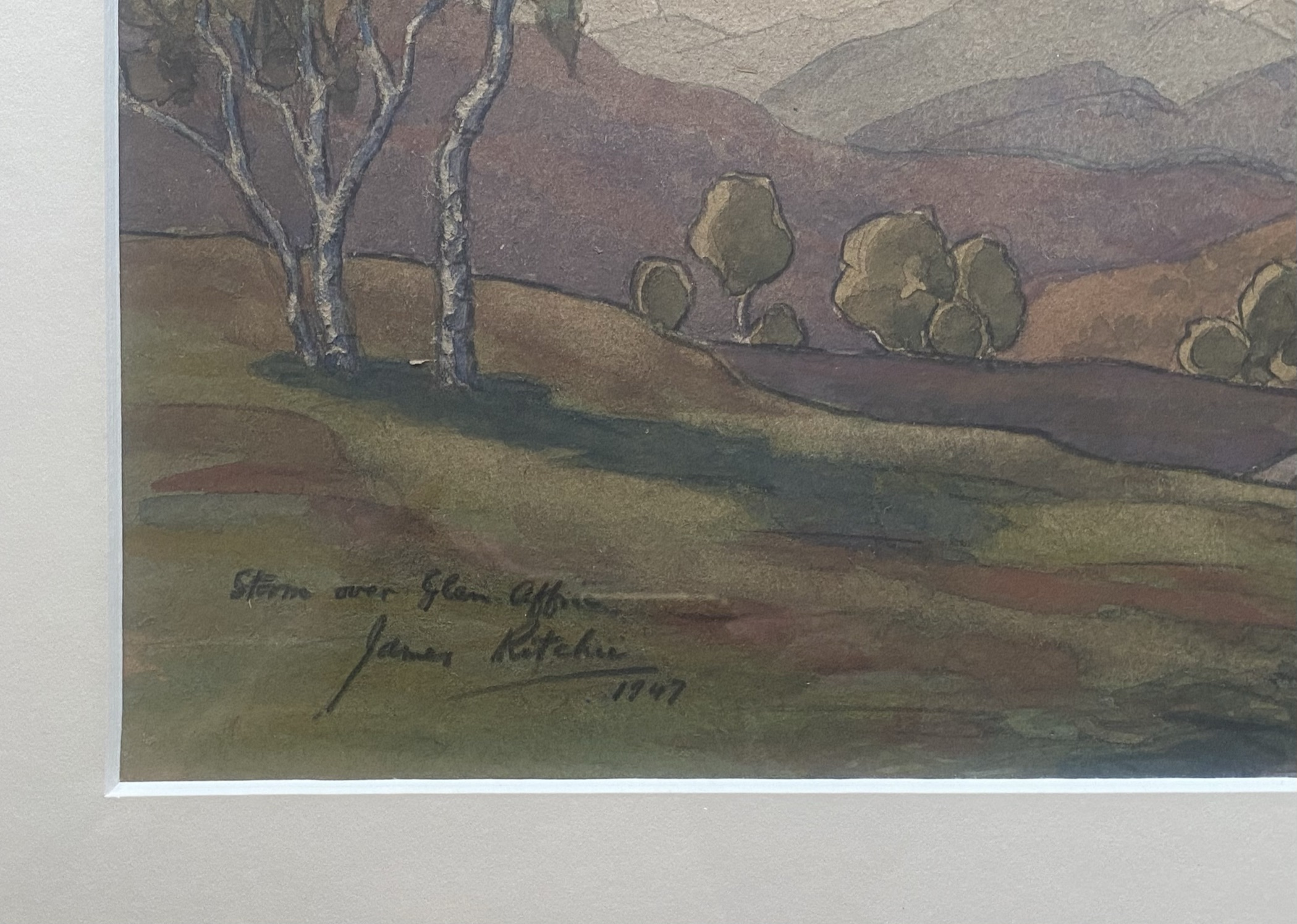 """John Ritchie (Scottish) signed watercolour """"Storm over the Glen"""" - Image 3 of 3"""