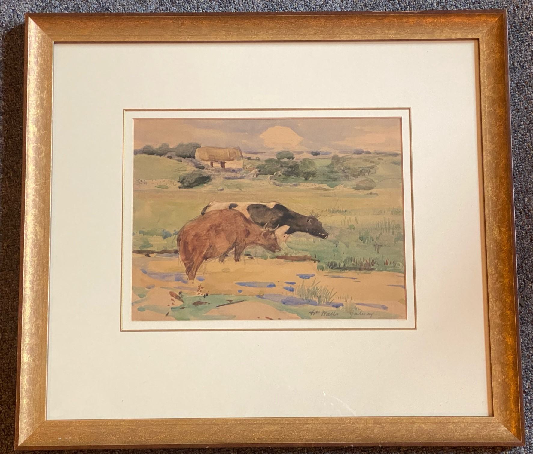 Signed watercolour Galway by Artist William Walls, 1860-1942, Exhibited – R.S.A, R.A, R.S.W - Image 3 of 4