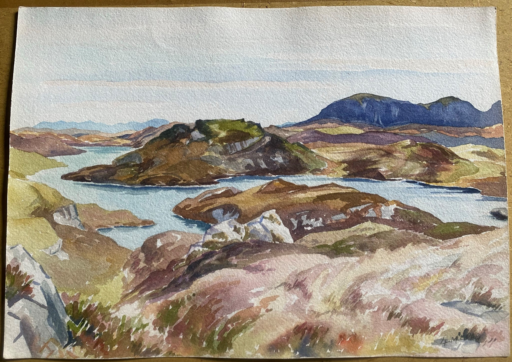 Watercolour signed G. M. Craig, (Gertrude Mary) Quinaig - Image 3 of 4