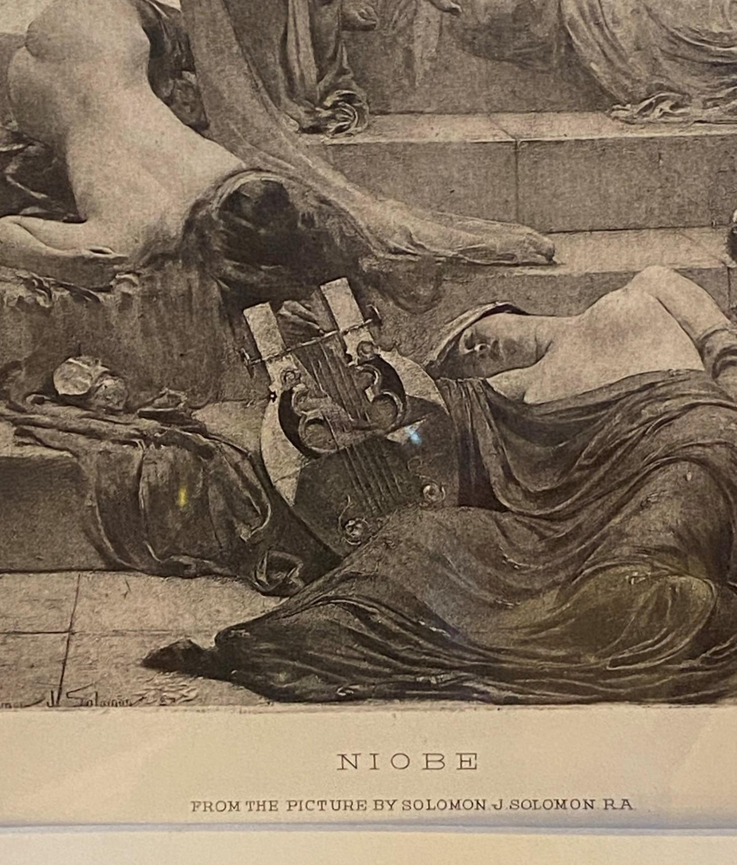 """Solomon Joseph Solomon RA RBA 1860-1927 """"Niobe"""" engraving - Image 3 of 4"""