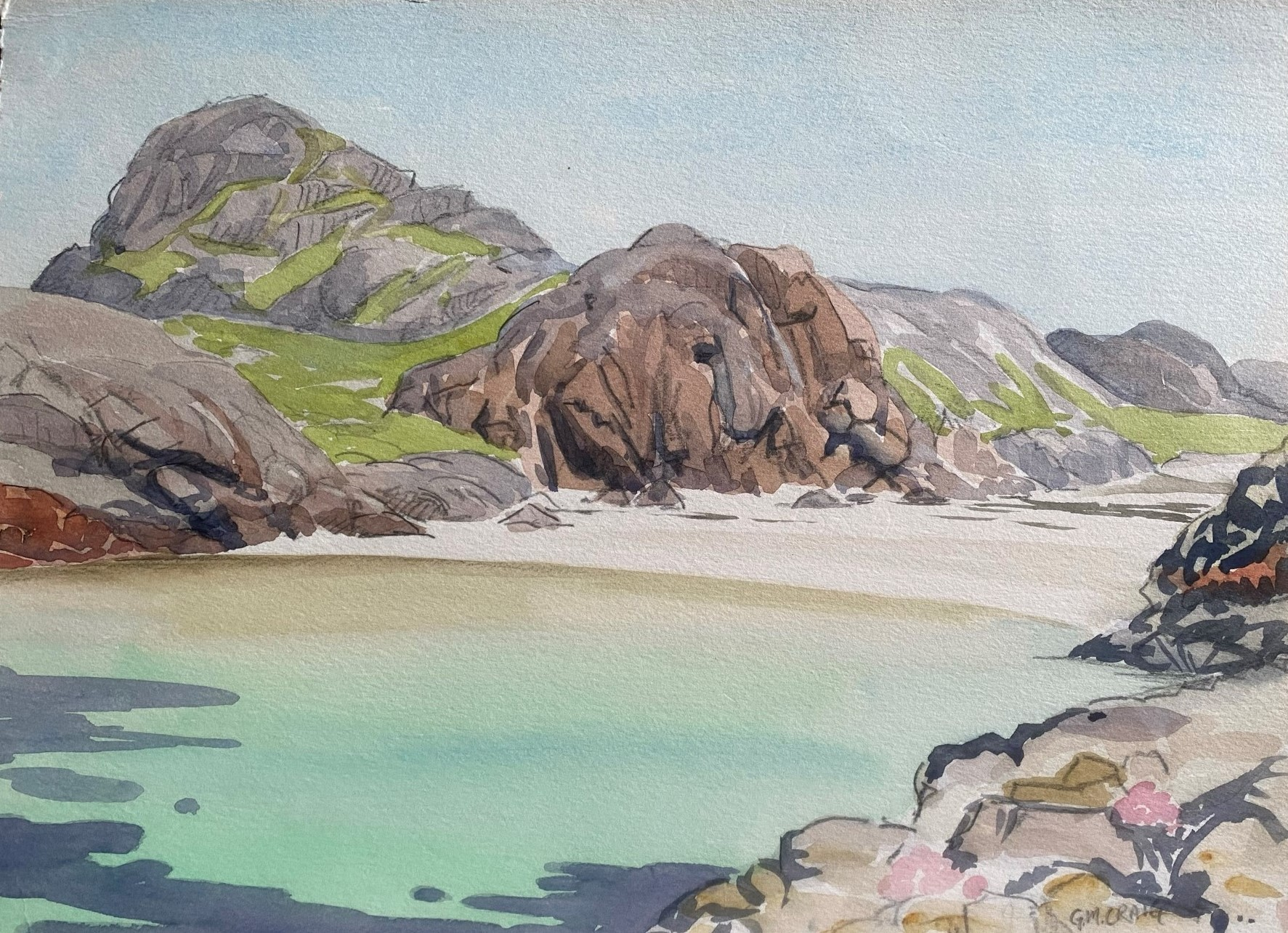 Watercolour signed G. M. Craig, (Gertrude Mary) Port Ban Iona